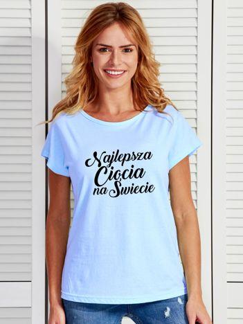 T-shirt niebieski NAJLEPSZA CIOCIA NA ŚWIECIE