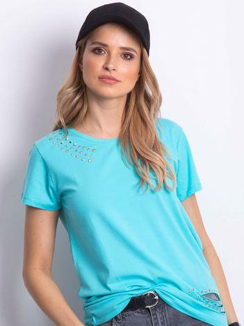 T-shirt niebieski z aplikacją i rozcięciami