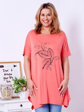 T-shirt pomarańczowy z motywem roślinnym PLUS SIZE