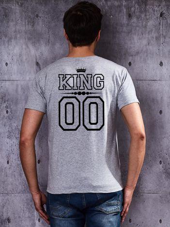 T-shirt szary męski dla par z nadrukiem KING z tyłu