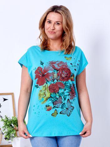 T-shirt turkusowy z motywem kwiatowym i aniołkiem PLUS SIZE