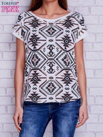 T-shirt w azteckie wzory z suwakiem i ćwiekami ecru