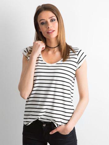 T-shirt w paski biało-granatowy