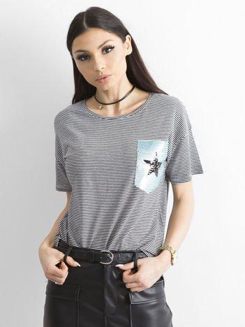 T-shirt w paski z cekinową aplikacją i tiulem czarno-biały