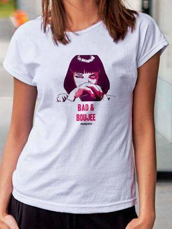 T-shirt z animowanym nadrukiem kobiety biały
