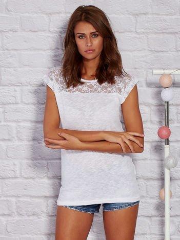 T-shirt z ażurową górą biały
