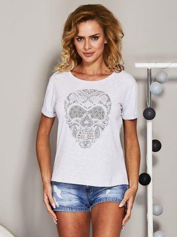 T-shirt z biżuteryjną czaszką szary