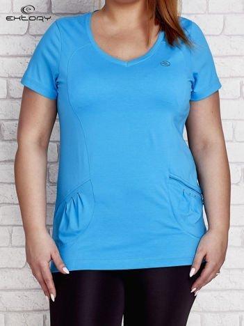 T-shirt z kieszonką turkusowy PLUS SIZE