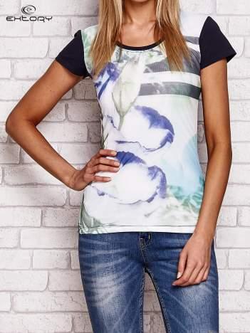 T-shirt z motywem kwiatowym grafitowy