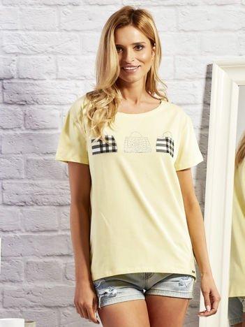T-shirt z motywem torebek żółty