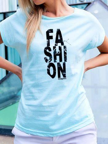 T-shirt z nadrukiem FASHION turkusowy