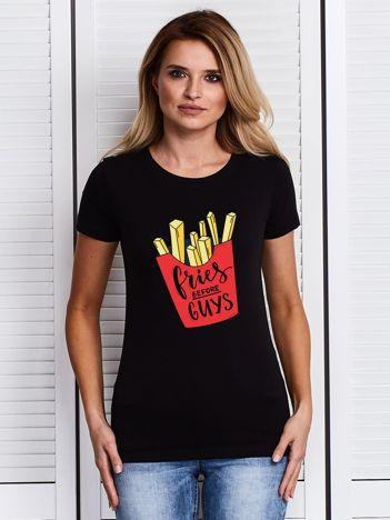T-shirt z nadrukiem FRIES BEFORE GUYS czarny