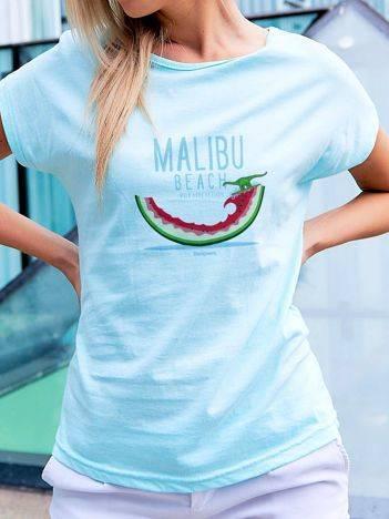 T-shirt z nadrukiem arbuza turkusowy