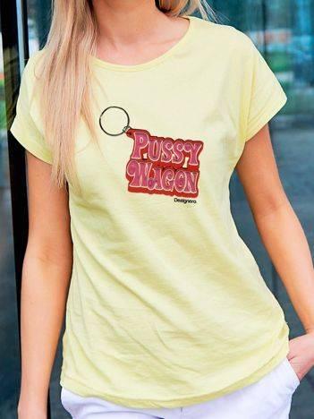 T-shirt z nadrukiem breloka żółty