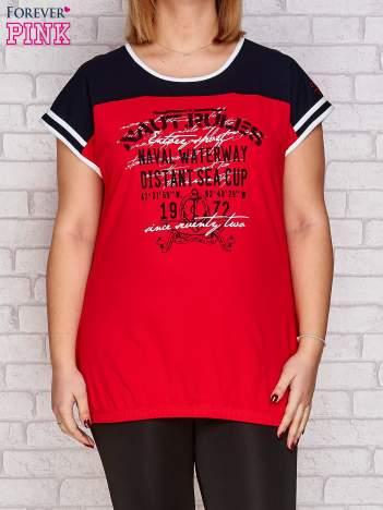 T-shirt z nadrukiem czerwony PLUS SIZE