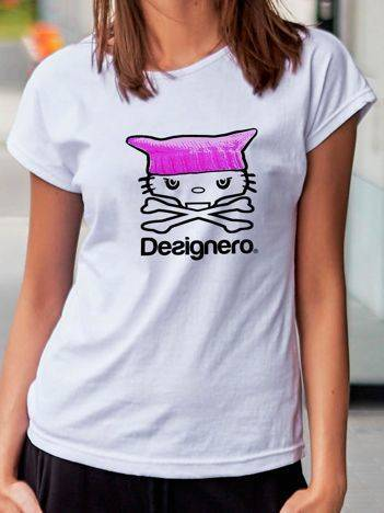 T-shirt z nadrukiem kota i napisem biały