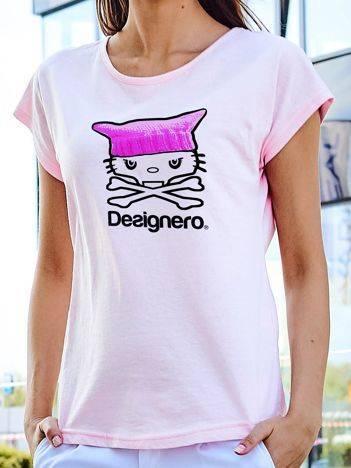 T-shirt z nadrukiem kota i napisem jasnoróżowy