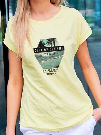 T-shirt z nadrukiem morza żółty
