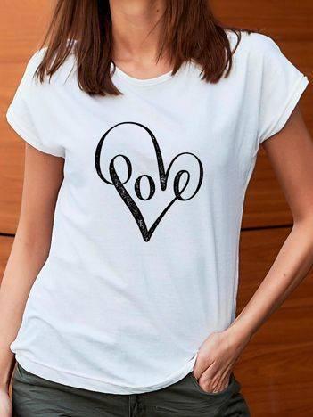 T-shirt z nadrukiem serca biały