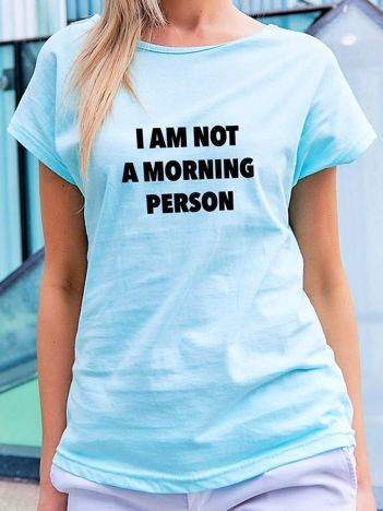 T-shirt z nadrukiem tekstowym turkusowy