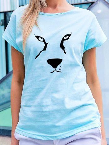 T-shirt z nadrukiem zwierzęcia turkusowy