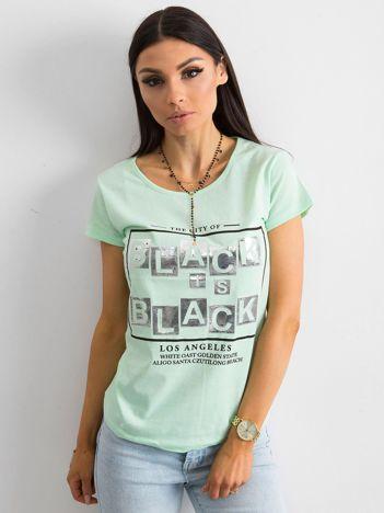 T-shirt z napisami miętowy