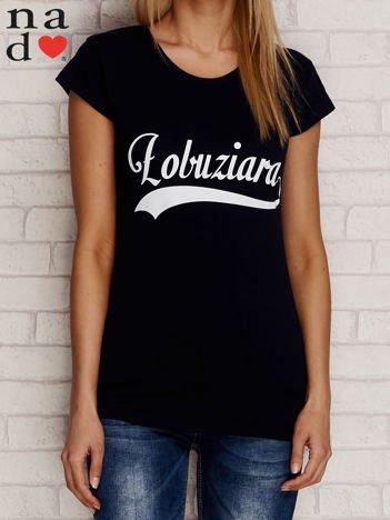 T-shirt z napisem ŁOBUZIARA granatowy