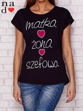 T-shirt z napisem MATKA ŻONA SZEFOWA czarny