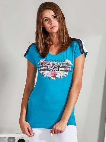 T-shirt z napisem VARIETY OF LOVE turkusowy