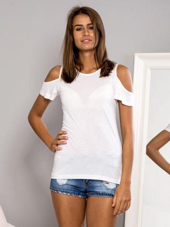 T-shirt z ramionami cut out biały