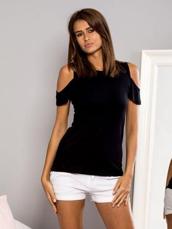 T-shirt z ramionami cut out czarny