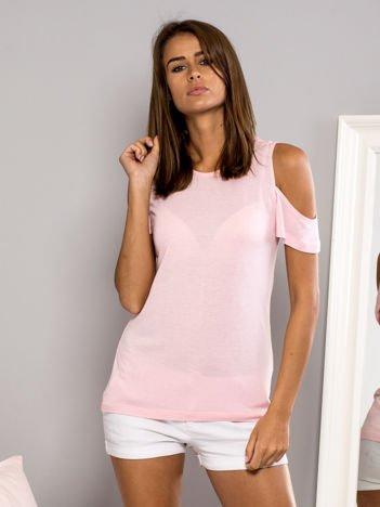 T-shirt z ramionami cut out jasnoróżowy