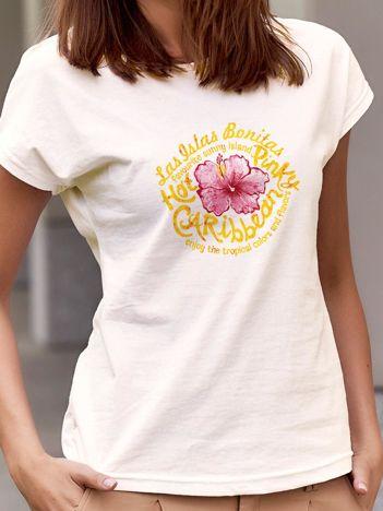 T-shirt z tropikalnym motywem ecru