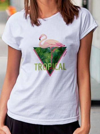 T-shirt z tropikalnym nadrukiem biały