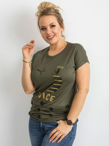 T-shirt z wiskozy khaki PLUS SIZE