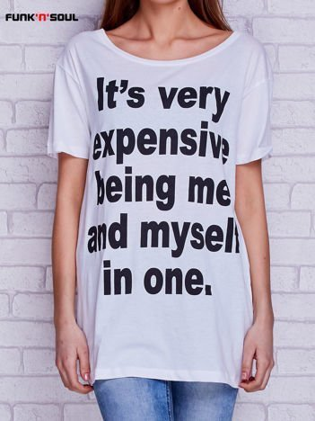 T-shirt z zabawnym napisem FUNK N SOUL biały