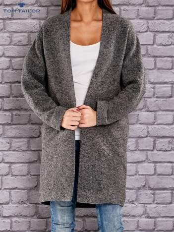 TOM TAILOR Ciemnoszary melanżowy sweter z otwartym dekoltem
