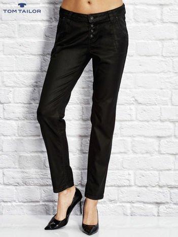 TOM TAILOR Czarne spodnie regular z przeszyciami