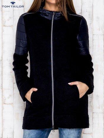 TOM TAILOR Granatowy płaszcz z pikowanymi wstawkami