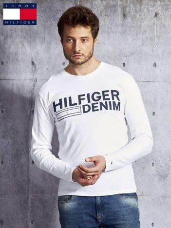 TOMMY HILFIGER Biała bluzka męska z nadrukiem