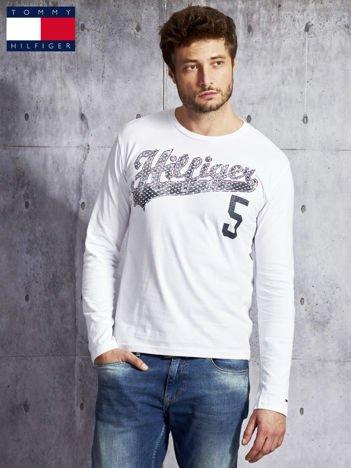 TOMMY HILFIGER Biała bluzka męska z tekstowym printem