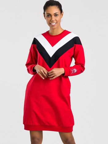 TOMMY LIFE Czerwono-biała sukienka