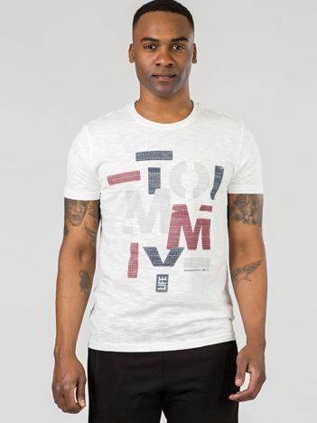 TOMMY LIFE Ecru t-shirt z nadrukiem