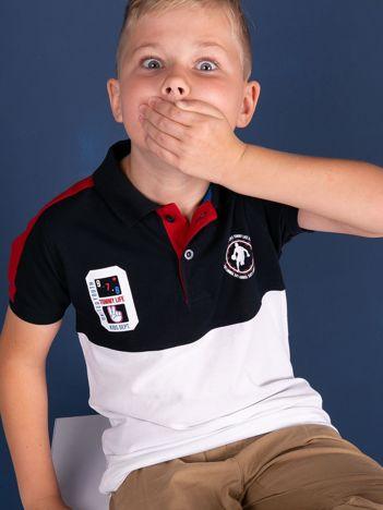 TOMMY LIFE Granatowo-biała bawełniana chłopięca koszulka polo