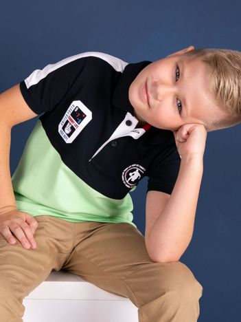 TOMMY LIFE Granatowo-zielona bawełniana chłopięca koszulka polo