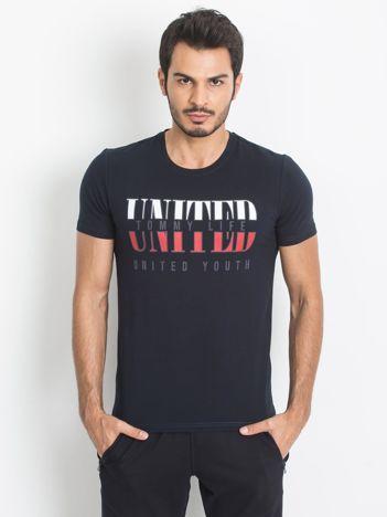 TOMMY LIFE Granatowy męski t-shirt z printem