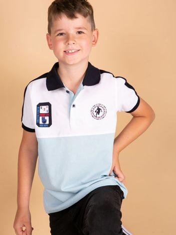 TOMMY LIFE Jasnoniebieska bawełniana chłopięca koszulka polo