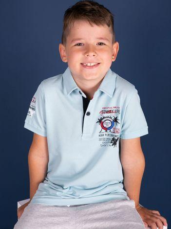 TOMMY LIFE Jasnoniebieska koszulka polo chłopięca