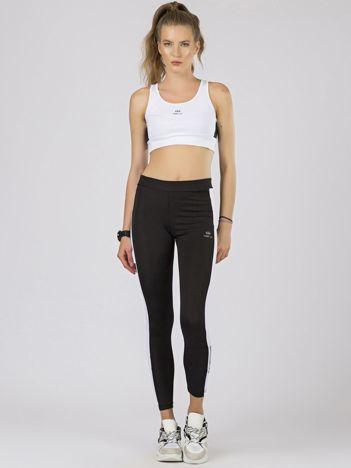 TOMMY LIFE Sportowe legginsy czarno-białe