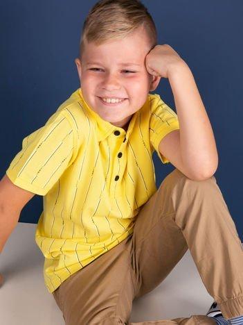 TOMMY LIFE Żółta koszulka polo dla chłopca w paski